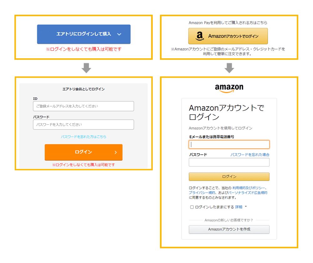 <span>3</span>エアトリ・Amazonの各種ログインをする(任意)